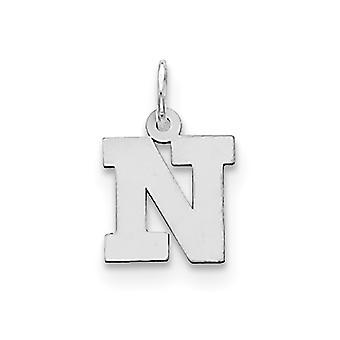925 sterling silver solid polerad liten block intial N charm-. 4 gram