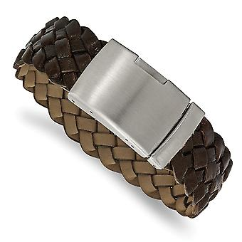 Stainless Steel Brushed Brown Leather Bracelet 9 Inch Jewelry Gifts for Women