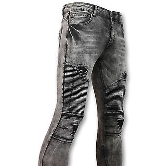 Trendy Biker Jeans - Grey Jeans - 3010