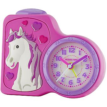 JACQUES FAREL Children's Alarm Clock Alarm Clock Analog Quartz Horse Girl ACB 717 HS Pink