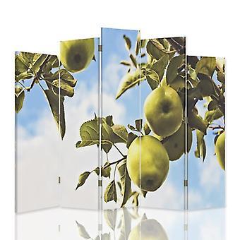 Diviseur de pièce décoratif, 5 panneaux, double-sided, toile, pommes vertes de branche