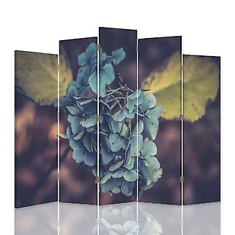 Dekorativa rumsavdelare, 5 paneler, dubbelsidig, canvas, turkos blomma 1