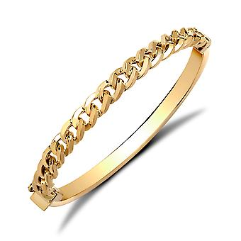 Jewelco London Ladies 9ct Yellow Gold Curb Link Chain Bangle Bracelet