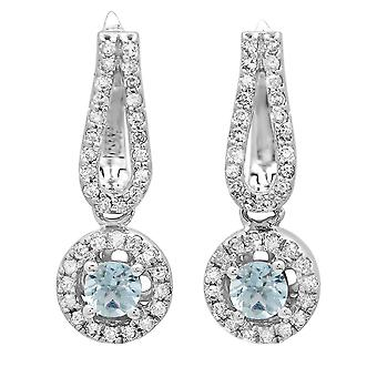 Dazzlingrock Collection 14K Round Aquamarine & White Diamond Ladies Halo Style Dangling Drop Earrings, White Gold