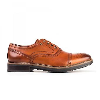 Base London Hardy Mens Washed Leather Lace Up Shoes Tan