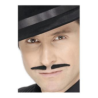 Black Spiv Moustache Gangster Mob Boss Skinny Fancy Dress Costume Accessory