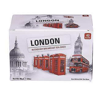 Boîte de scènes de Londres avec 40 sachets de thé anglais de petit déjeuner