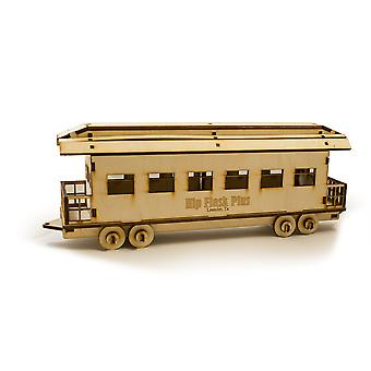 Crafts - passenger car - model kit raw wood 9x3x4in