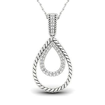 Igi certified s925 sterling silver 0.1ct tw diamond double drop necklace