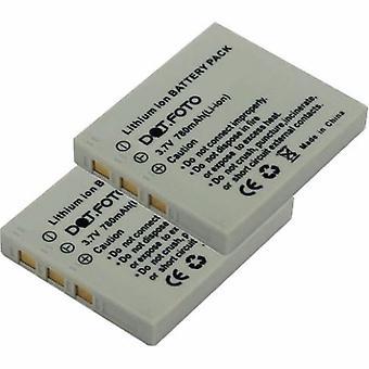 2 x Dot.Foto Rollei NP-40 Replacement Battery - 3.7v / 780mAh