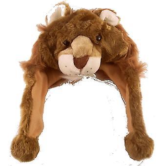 Crianças meninos meninas velo macio peludo chapéu Animal Super quente térmica inverno leão