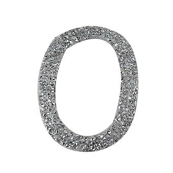 Silver Glitter Number Sticker - Number 0