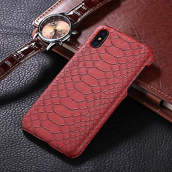 For iPhone XS,X Back Case,Elegant Snakeskin Texture Durable Protective Cover,Red