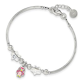 925 Sterling Silver for boys or girls Enamel Owl Stars Crystal .75inch Ext. Bracelet  6 Inch