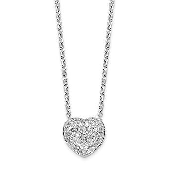 925 Sterling Silver Rhodium Plated CZ Cubic Zirconia Simulated Diamond Love Heart Necklace With 1.5inch Ext. 14 Inch