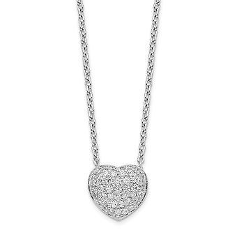 925 Sterling Sølv Rhodium Belagt CZ Cubic Zirconia simuleret Diamond Love Heart halskæde med 1.5inch Ext. 14 Tommer