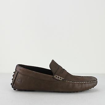 Basis London Morgan Oily Herren Leder fahren Loafers braun