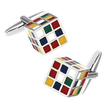 Rubik Toy Style Game Cube Cufflinks Novelty Play Colour Shirt Cuff Links Fashion Fun