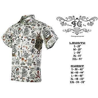 Funny Guy Mugs Mens Pirate Hawaiian Print Button Down, Pirate Grey, Size Small