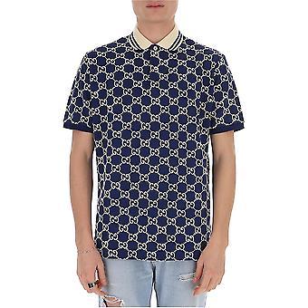 Gucci 598956xjb0u4115 Men's White/blue Cotton Polo Shirt