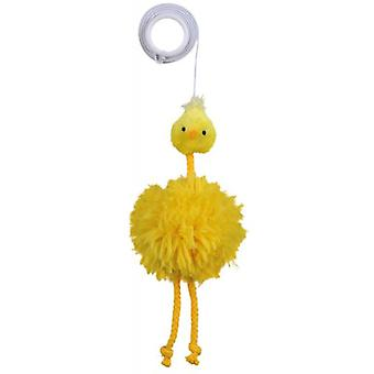 Trixie Chicken on an Elastic Band Plush with bell (Cats , Toys , Plush & Feather Toys)