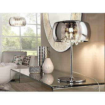 Schuller Argos - Table lamp, made in metal. Chrome finish. Crystal mirrors shade. Glass inner drops murano style. Plug type G (UK). - 508516UK