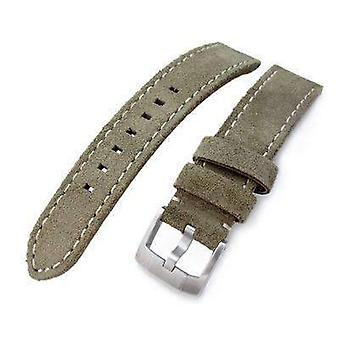 Strapcode carbon fibre watch strap 20mm, 21mm miltat military green nubuck leather watch band, beige stitching