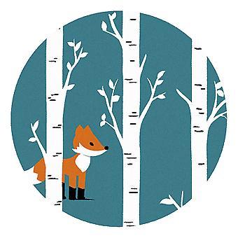 Kids Rug - Fox - Wasbaar - Cirkel 115 cm