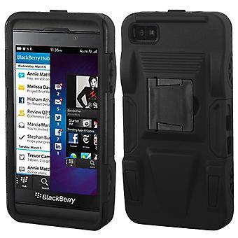מקרה שריון ASMYNA מתקדם עם מעמד עבור BlackBerry Z10-שחור/שחור