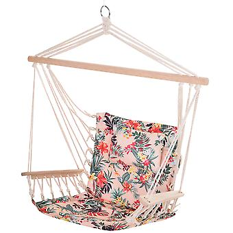 Outsunny Garden Outdoor Hanging Hammock Chair Thick Rope Frame Wooden Arms Safe Wide Seat Garden Outdoor Spot Stylish