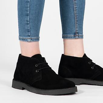 Roamers Unisex Round Toe Suede Leather Desert Boots Black