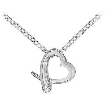 Colar de coração Crossover KJ Beckett diamantes - prata
