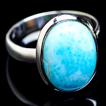 Larimar Ring Size 9.25 (925 Sterling Silver)  - Handmade Boho Vintage Jewelry RING4835