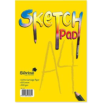 Silvine A4 Portrait Sketch Pad - 20 sheets of 100gsm Smooth White Cartridge Paper (297 x 210mm)