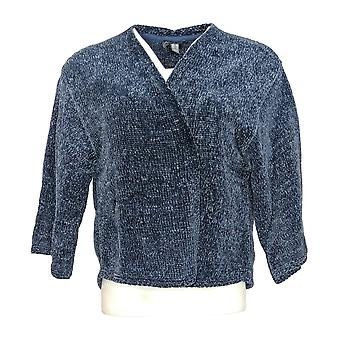Anybody Women's Sweater Chenille Cropped Cardigan Blue A345313