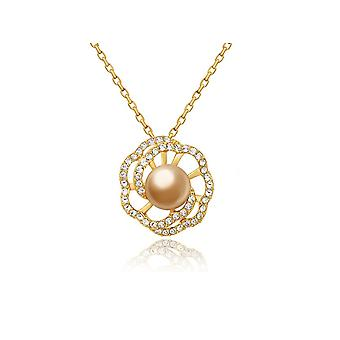 Pearl Flower pendant adorned with Swarovski crystals and yellow gold plate 3075