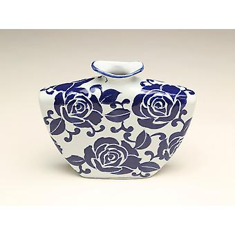 AA Importing 59945 9 Inch Flat Blue & White Vase
