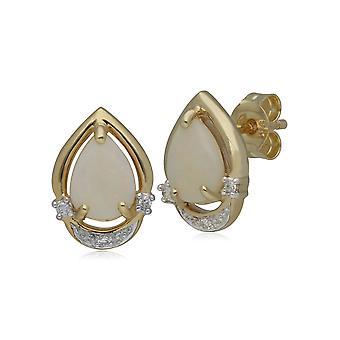 Aretes clásicos de ópalo y diamantes de pera en oro amarillo de 9 qt 135E1073019