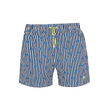 Boss Palmfish Impresso Azul e Branco Shorts de natação