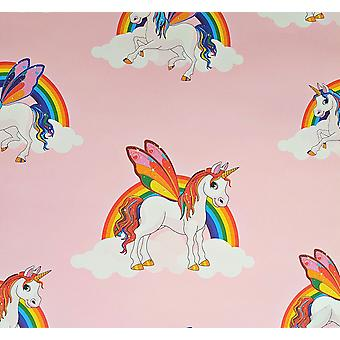 Rainbow Unicorn Wallpaper Girls Pink Multicoloured Pony Bright Kids Feature Wall