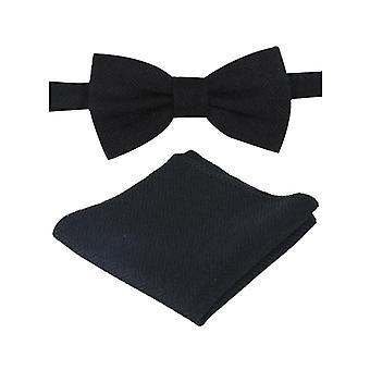Mens & Boys Black Herringbone Tweed Dickie Bow Tie and Pocket Square