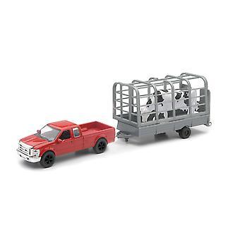 Punainen Ford F-250 Super tullin kiinnitetyllä laitteiden lisätty