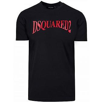DSQUARED2 Musta & Punainen Logo Tulosta T-paita