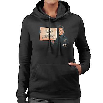 Elvis Presley US Army Certificate Women's Hooded Sweatshirt
