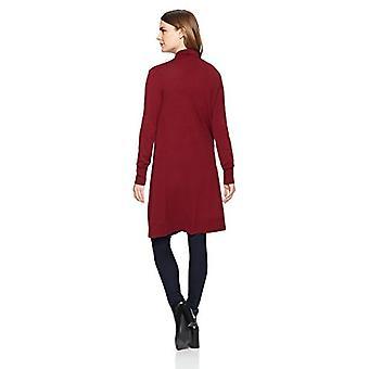 Marca - Lark & Ro Women's Long Waterfall Cardigan Sweater, Borgonha, M...