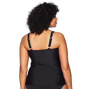 Coastal Blue Women's Plus Size Classic Center Front-Twist Tankini Top, Ebony,...