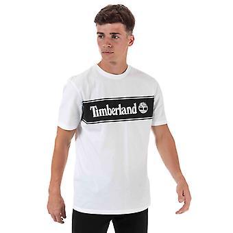 Men's Timberland YC gestreiftes Logo T-Shirt in weiß