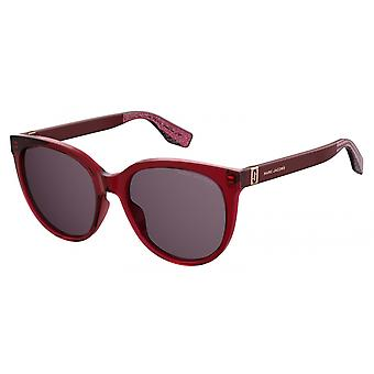 Sunglasses women round glittering red/violet