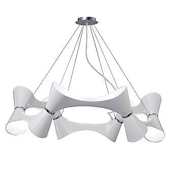 Inspiriert Mantra - Ora - Deckenanhänger 12 verdreht Runde Licht E27, Glanz weiß, weiß Acryl, poliert Chrom