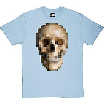 Camisa azul-azul-de-caveira pixelada